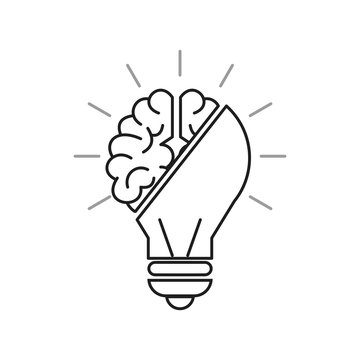 Innovation or creativity concept. Half human brain and half electric bulb. Outline thin line. Isolated on white background.