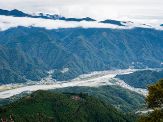 Panoramic view of Fuji river valley from the top of Mount Minobu - Yamanashi prefecture, Japan