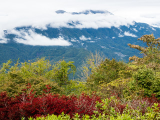 Panoramic view of Japanese Southern Alps from the top of Mount Minobu - Yamanashi prefecture, Japan