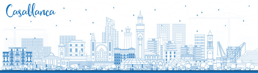 Wall Mural - Outline Casablanca Morocco City Skyline with Blue Buildings.