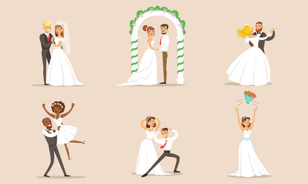 Elegant Romantic Just Married Couples in Love Set, Newlywed Bride and Groom at Marriage Ceremony Vector Illustration