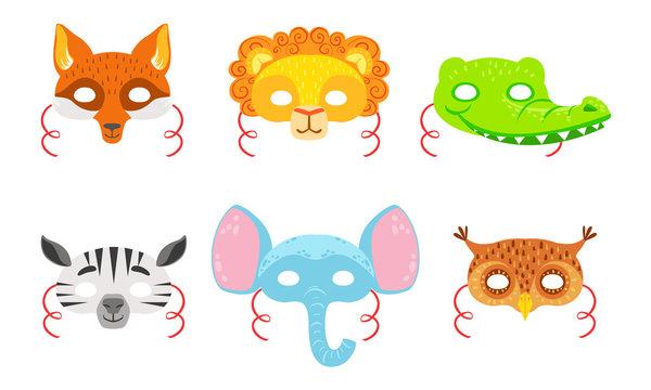 Animals Carnival Masks Set, Fox, Lion, Crocodile, Zebra, Elephant, Owl Vector Illustration