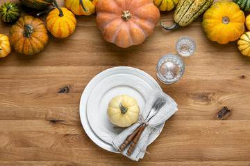 Thanksgiving country style table setting decoration idea
