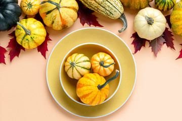 Autumn pumpkin decorative table setting concept