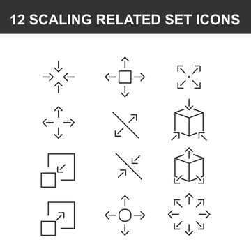 Scaling Related Vector Line Icons