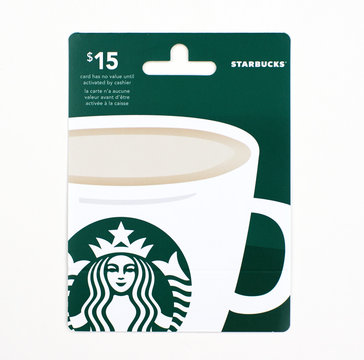 Starbucks gift card on a white background.