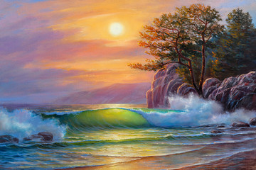Sunset over sea, painting by oil on canvas. Sea wave.