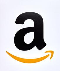 Amazon logo on a white background.