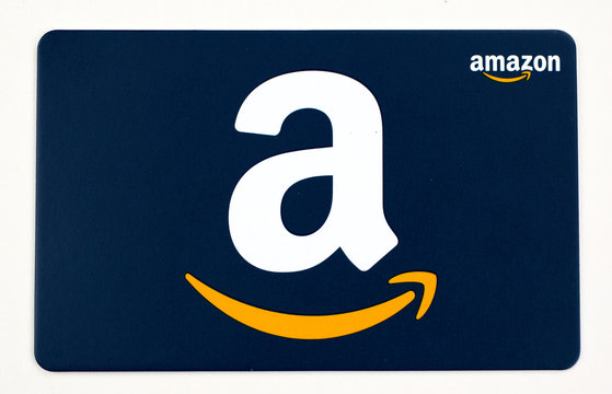 Amazon gift card on a white background.