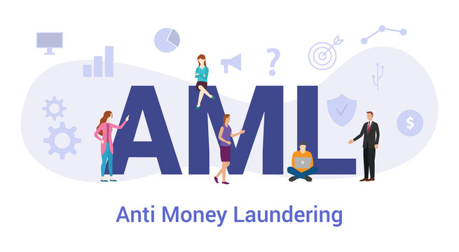 aml anti money laundering concept with big word or text and team people with modern flat style - vector
