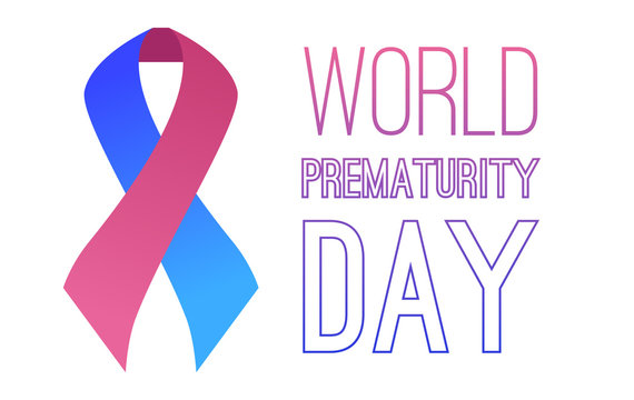 International day of premature babies. Festive pink blue ribbon with the inscription on a white background. Horizontal vector card. Banner for articles.