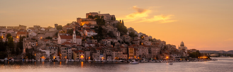 Sibenik, North Dalmatia, Croatia-panorama of the old town