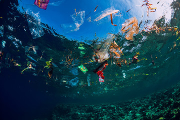 Underwater ocean with plastic and plastic bags, ecological problem