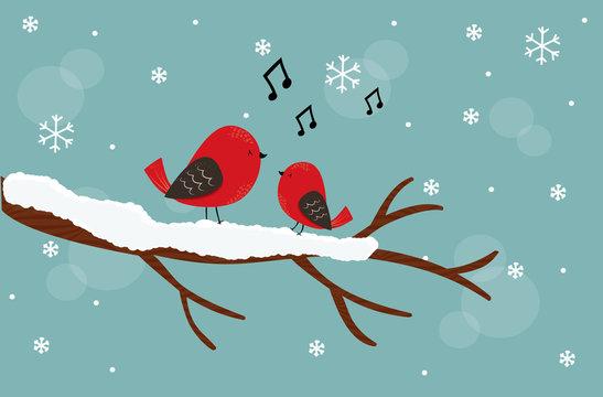 sfondo di natale, uccellini felici