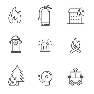 Set of fire and wildfire related icon with simple line design