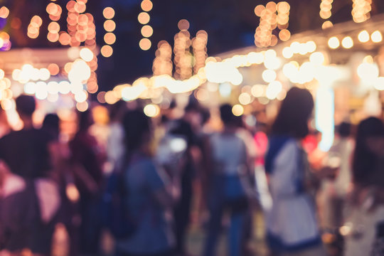 Festival Event Party outdoor with lighting decoration Blur People Background