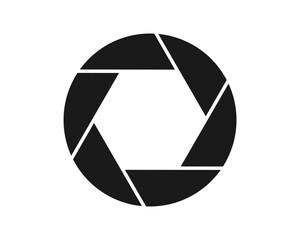 Photo camera aperture vector illustration image. Logo icon.