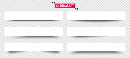 Banner shadows set. Page dividers on transparent background. Realistic shadows template. Three-dimensional volume behind an object or page. Quote frame design. Vector 3d banner template Wall mural