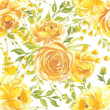 seamless pattern watercolor flower rose yellow
