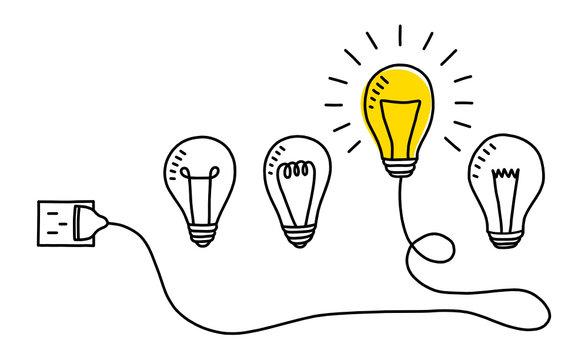 Hand drawn light bulbs. Creative idea