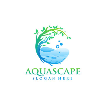 aquascape logo design vector illustration