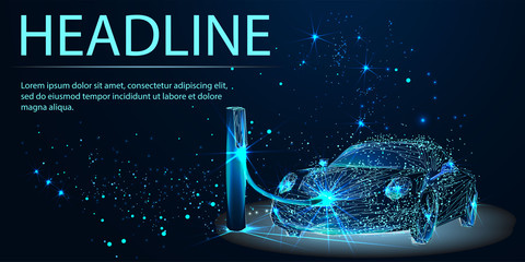 Electric Car Power Supply charging on charge station electro mobility environment. Eco transport and green world concept. Polygonal wireframe Vector illustration. Headline
