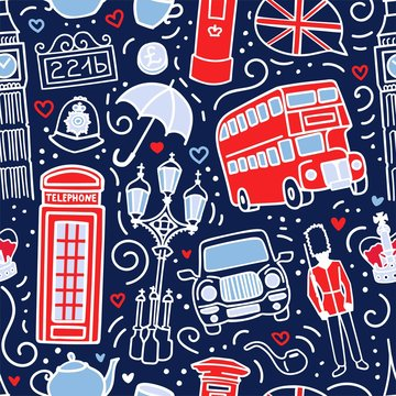 Vector seamless pattern with symbols of London, Great Britain. Hand drawn doodle elements in blue, white and red colors. Endless background for print, wallpaper, textile design on the UK theme.