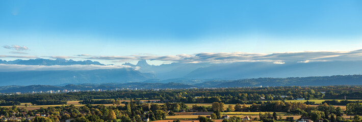 landscape of Pau city, Pyrenees mountains on background Wall mural