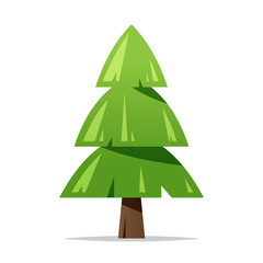 Green pine tree vector isolated illustration