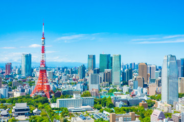 Deurstickers Tokio 東京タワー 都市景観
