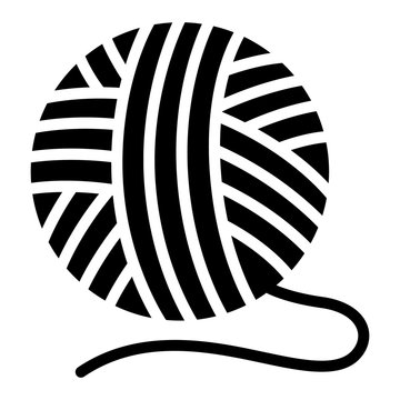 Yarn ball for knitting with loose thread flat vector icon for crafting apps and websites