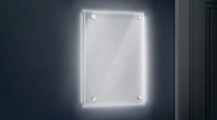 Empty glass name plate bolted to wall near doorway glowing in darkness. Blank acrylic holder, picture frame mock-up. Office, exhibition gallery interior design element 3d realistic vector illustration