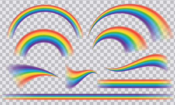 Multicoloured rainbow stripes isolated