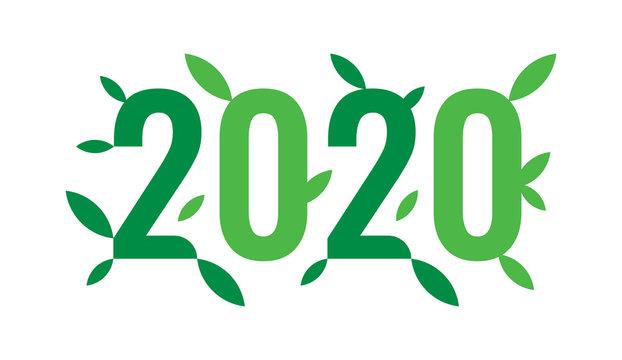 2020 logo and green leafs. vector 2020 logo