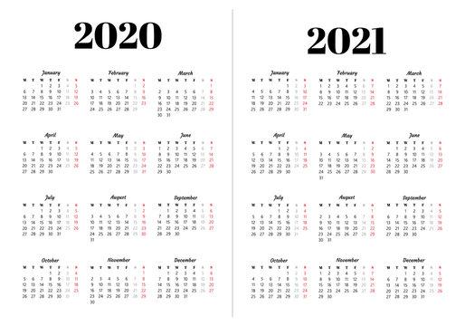 Calendar 2020, 2021 year.