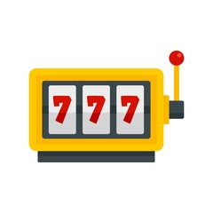 Casino slot machine icon. Flat illustration of casino slot machine vector icon for web design