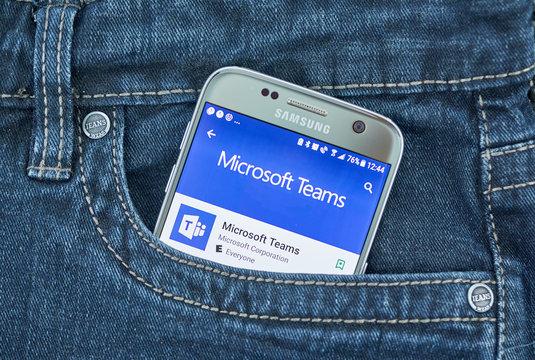 Microsoft Teams mobile application on screen of Samsung