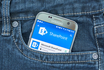 Microsoft SharePoint mobile application on screen of Samsung