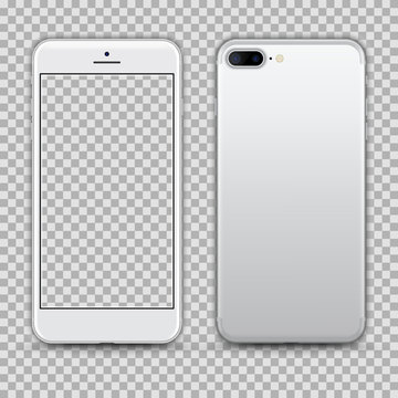 Realistic White Smartphone with Transparent Screen isolated on Background. Front and Back View For Print, Web, Application. Detailed Device Mockup Separated Groups and Layers. Easily Editable Vector