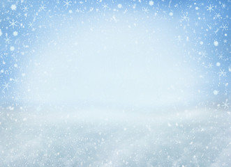 Winter Christmas background with falling snowflakes. Background for design with copy space