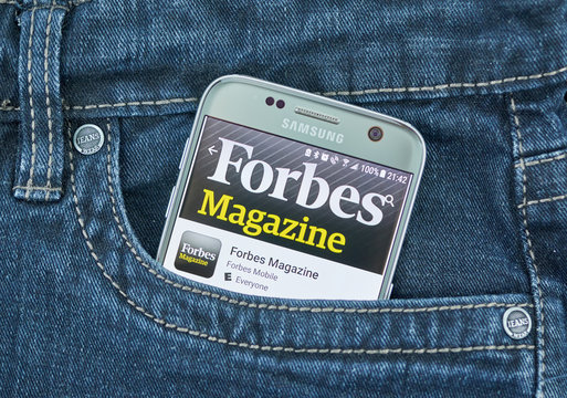 Forbes Magazine mobile application on screen of Samsung