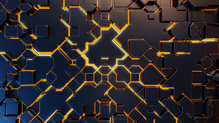 geometric abstraction with yellow lighting elements.3d render.