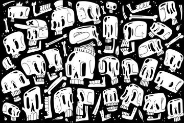 Cartoon white skull set