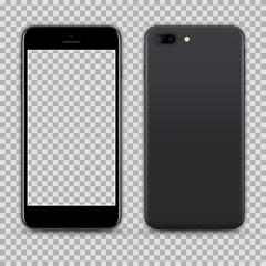 Realistic Grey Smartphone with Transparent Screen isolated on Background. Front and Back View For Print, Web, Application. Detailed Device Mockup Separated Groups and Layers. Easily Editable Vector