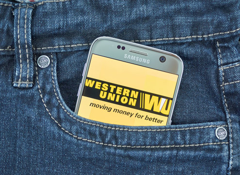 Western Union mobile application on screen of Samsung