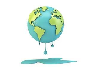 melting earth isolated