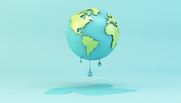 melting earth on blue background
