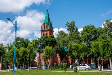 Russia, Blagoveshchensk, July 2019: Orthodox Church of the Archangel Gabriel and other disembodied forces of heaven in summer