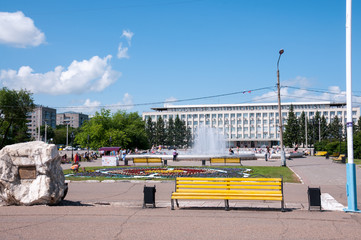 Russia, Blagoveshchensk, July 2019: Lenin square in the city center in Blagoveshchensk in summer