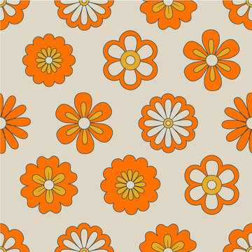 Abstract illustration on orange backdrop. Vintage vector botanical illustration. Floral wallpaper. Textile design texture. Summer bright background. Seamless leaf pattern. Spring floral background.
